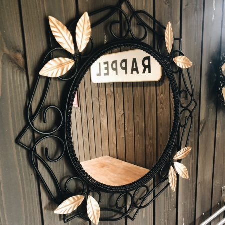 Miroir vintage noir et doré